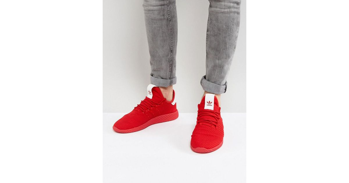 0b680f79a Lyst - adidas Originals X Pharrell Williams Tennis Hu Trainers In Red  By8720 in Red for Men