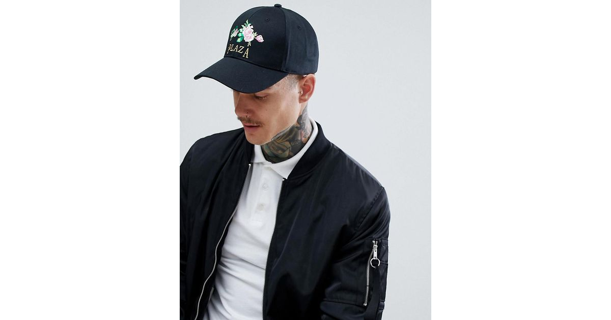 c83d73efbd4b6 ASOS Baseball Cap In Black With Floral Plaza Embroidery in Black for Men -  Lyst