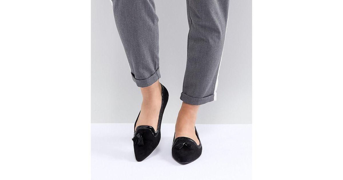 1cd29e95f3f ASOS Locker Wide Fit Pointed Loafer Ballet Flats in Black - Lyst