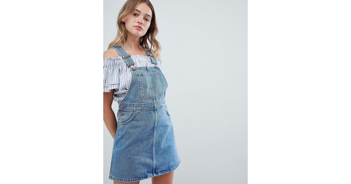 4bda707ba2 Monki Denim Overall Mini Dress in Blue - Lyst