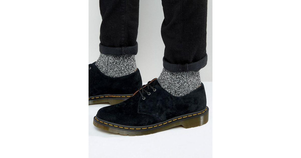 Lyst - Dr. Martens 1461 3 Eye Suede Shoes in Black for Men 9d9b79e71