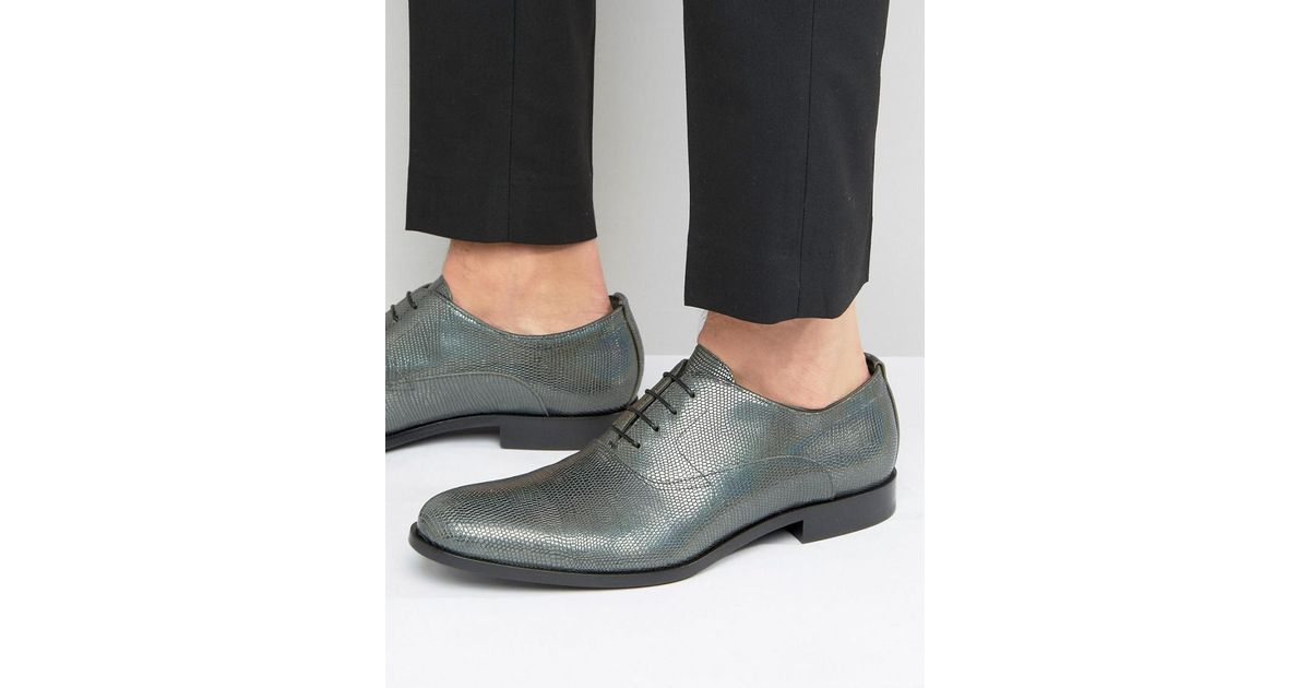 be93b018 HUGO By Boss Sigma Snake Metalic Oxford Shoes in Metallic for Men - Lyst