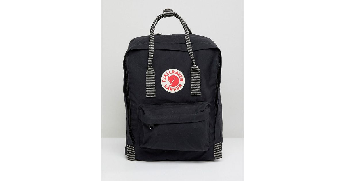 37bf77284 Fjallraven Mini Kanken Black Backpack With Contrast Stripes in Black - Lyst