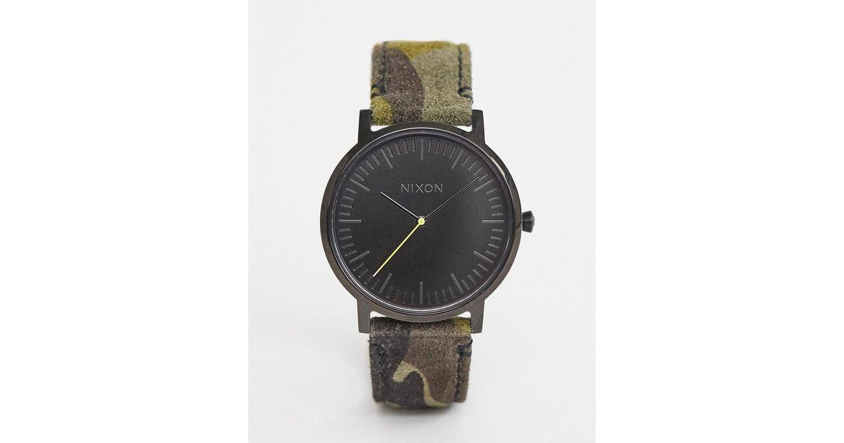 c2eb95ff60fa Reloj de cuero en camuflaje de 40mm Porter de Nixon de hombre de color Verde  - Lyst
