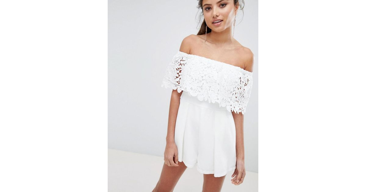 a2921e8862 Love Triangle Bardot Lace Romper in White - Lyst