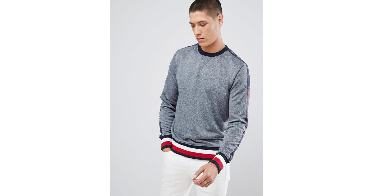 32f09861 Tommy Hilfiger Sports Capsule Crewneck Icon Stripe Trim Sweatshirt With  Sleeve Logo Taping In Gray Marl in Gray for Men - Lyst