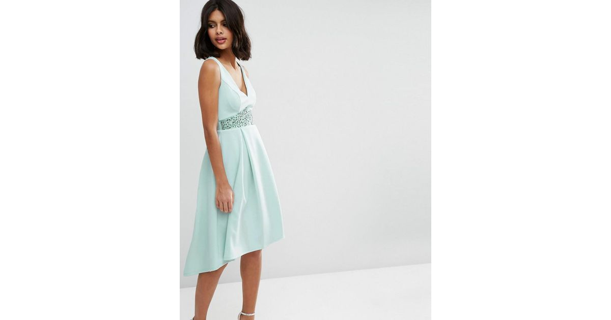 08fd07a77b8 Lyst - ASOS Debutante With Trim Waist Midi Dress in Green