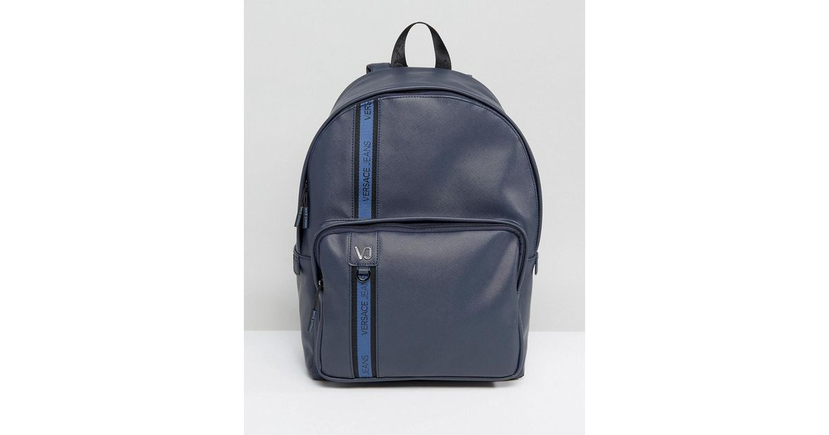 c1f0345fe1a Versace Jeans Backpack In Navy With Logo Taping in Blue for Men - Lyst