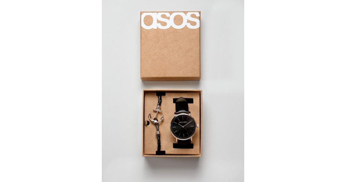 ca7c89c0c181d4 ASOS Watch And Bracelet Set With Anchor In Rose Gold in Black for Men - Lyst