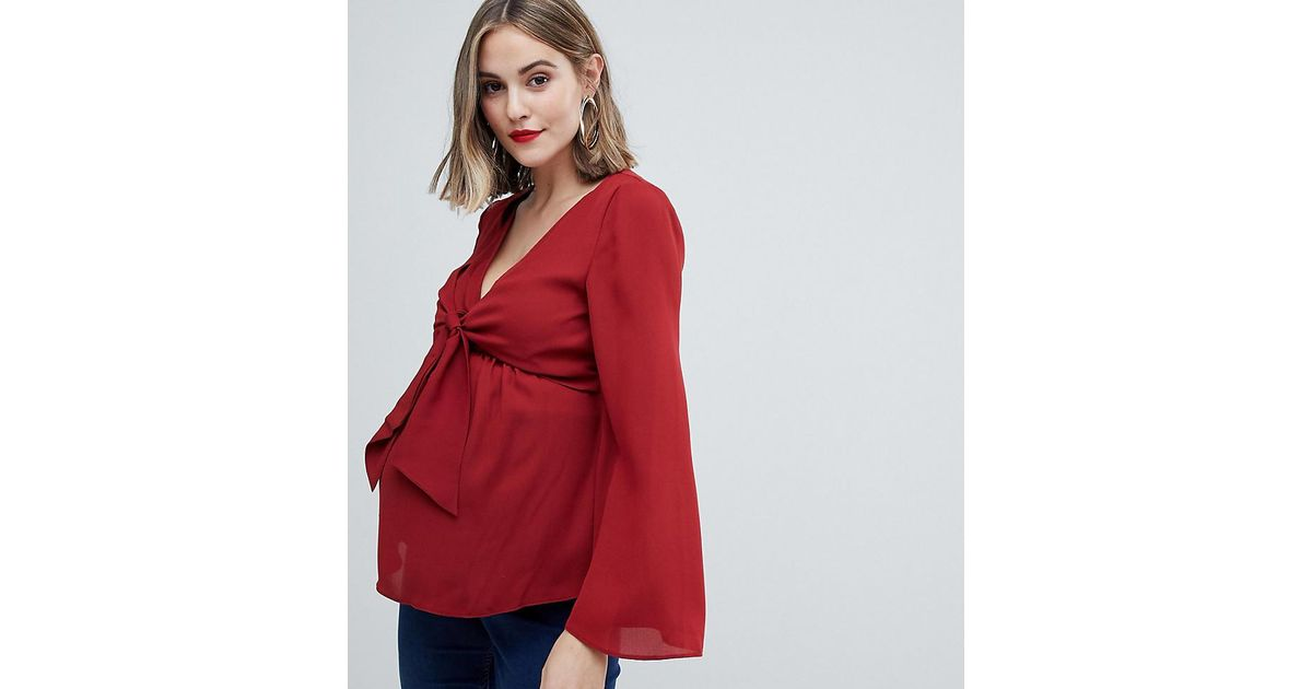 79f4fcca8040e ASOS Asos Design Maternity Nursing Long Sleeve Top With Tie Front Detail in  Orange - Lyst