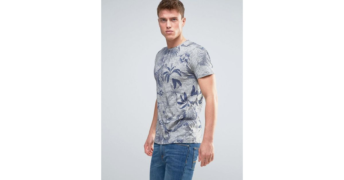 6debdeb5aaeb Lyst - Esprit T-shirt With All Over Floral Print in Gray for Men