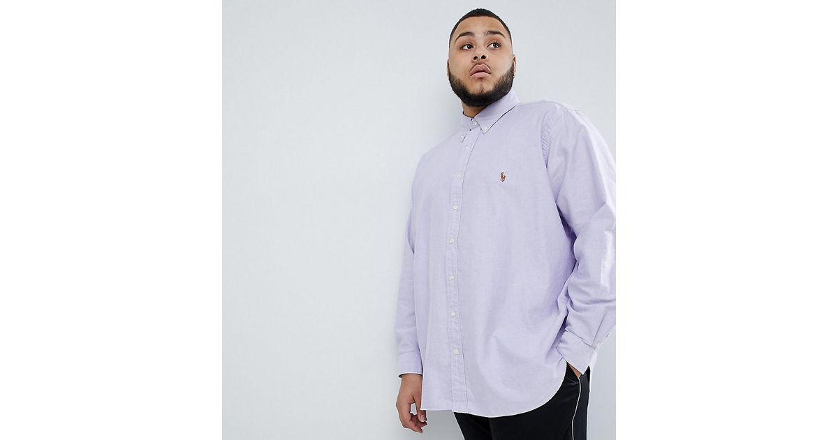 1fed5216dc3 Polo Ralph Lauren Big   Tall Button Down Collar Oxford Shirt Player Logo In  Lilac in Purple for Men - Lyst