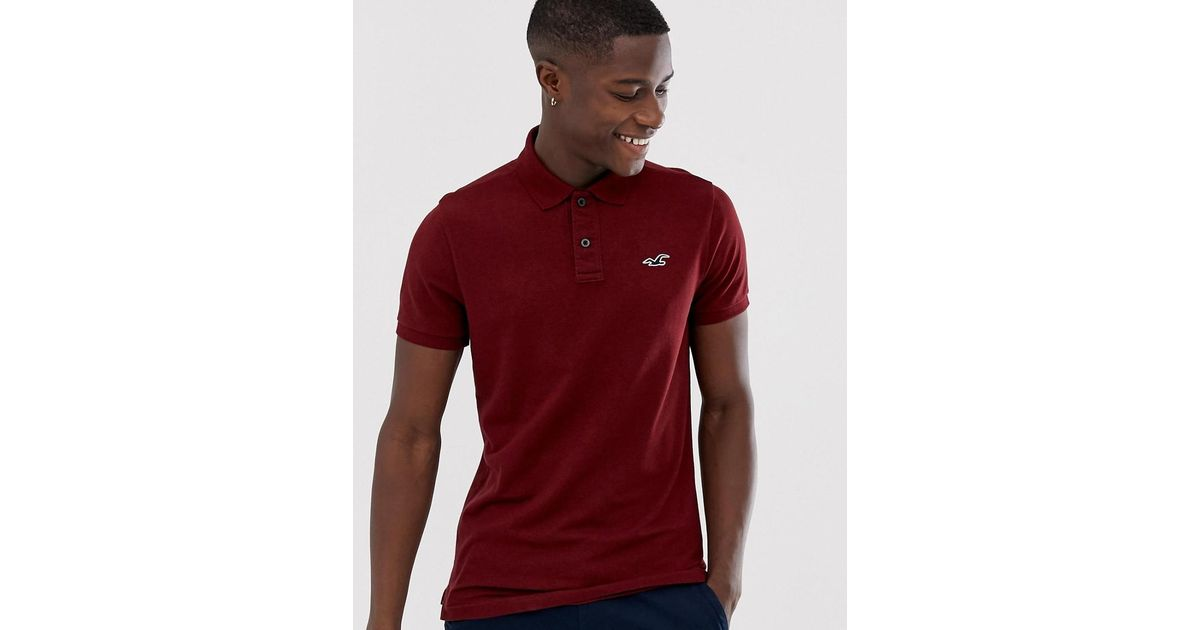 8cecbce0 Hollister Icon Logo Heritage Slim Fit Polo In Burgundy Marl in Red for Men  - Lyst