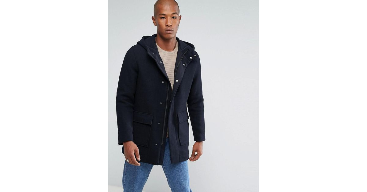51785e4b0e0 SELECTED - Blue Mix Wool Parka With Padded Lining for Men - Lyst