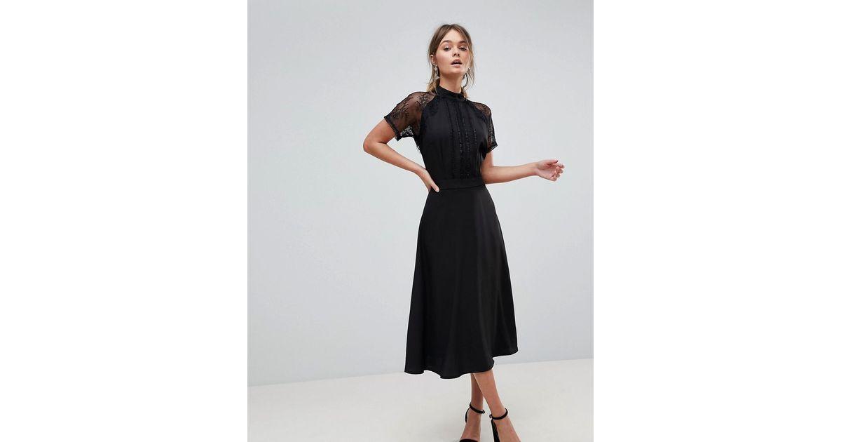 f12ce2e3ba6 Liquorish A Line Lace Detail Midi Dress in Black - Lyst