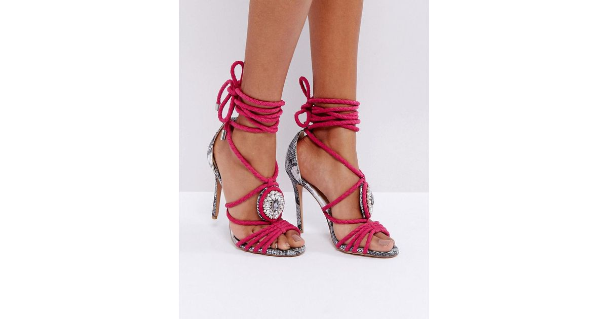 Forever unique Multi Strap Embellished Heeled Sandal With Snake ...