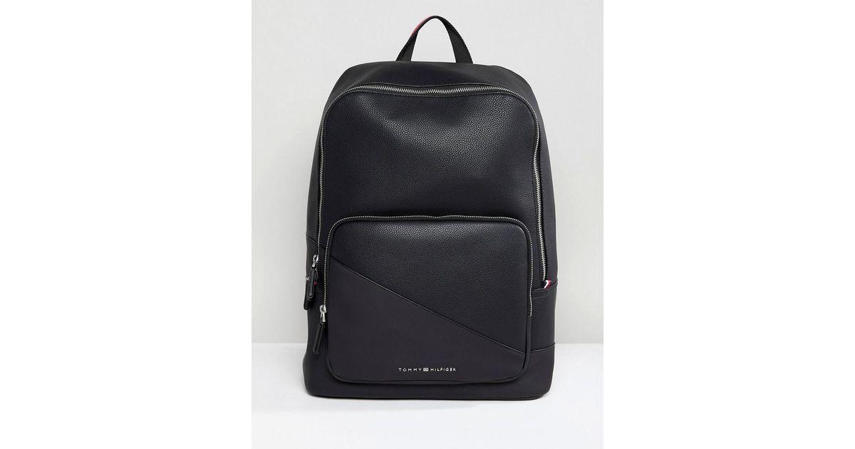 e472bd676 Tommy Hilfiger Diagonal Faux Leather Backpack In Black in Black for Men -  Lyst