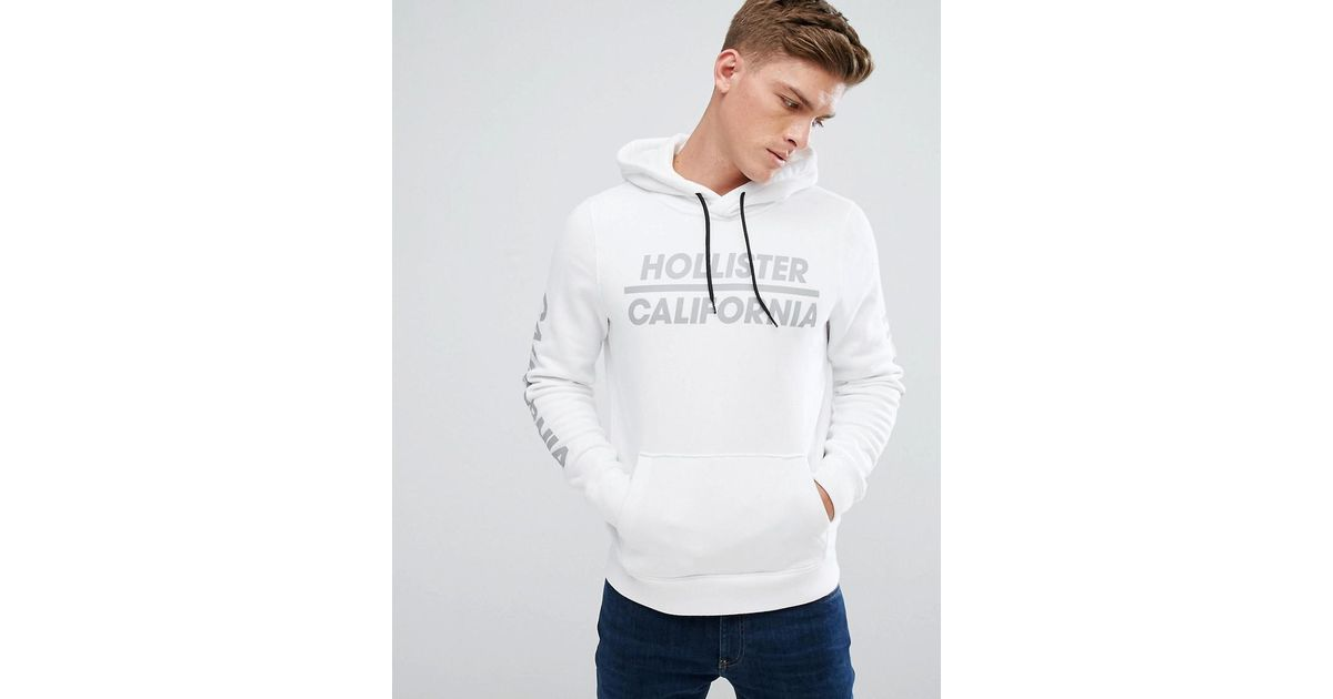 Hollister Hoodie Athletic Print Logo In White In White For