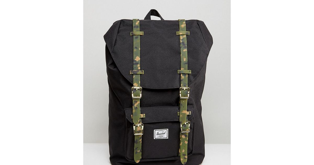 ea53f87906e Herschel Supply Co. . Exclusive Little America Backpack With Camo Straps in  Black - Lyst
