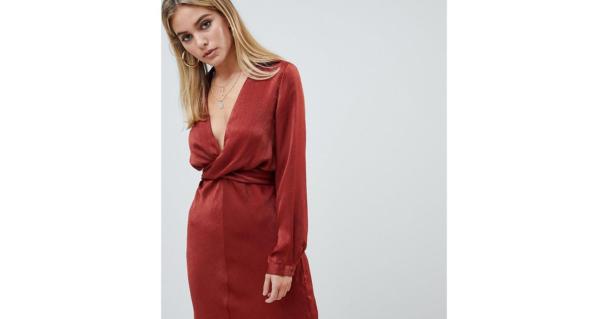 7d02403ad373 PrettyLittleThing Hammered Satin Tie Back Dress In Rust in Brown - Lyst