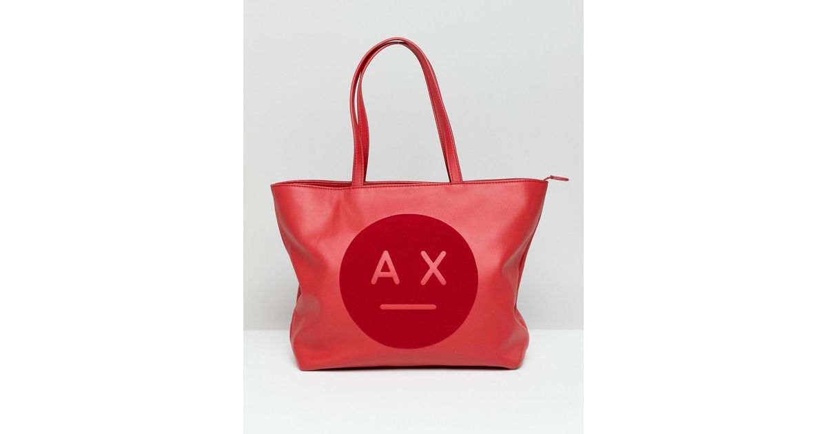 Lyst - Armani Exchange Ax Face Logo Tote Bag in Red 78b306339070a