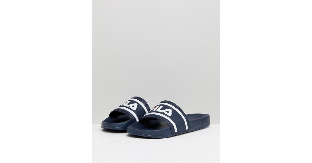 cecb98159 Lyst - Fila Morro Bay Logo Sliders In Navy in Blue for Men - Save 3%
