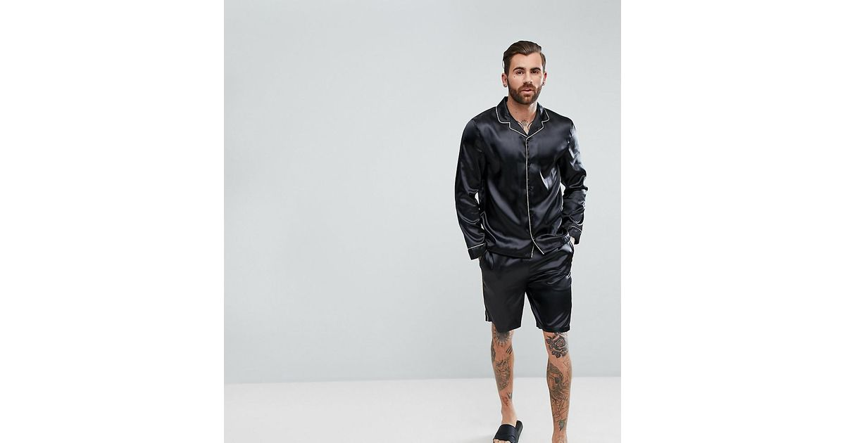 b8122e8d01 Lyst - ASOS Pyjama Set In Satin With Gold Piping in Black for Men