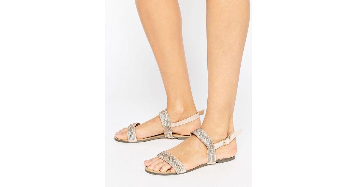 6832dd43abdb01 Lyst - Little Mistress Two Strap Flat Sandals Rhinestone Embellishment