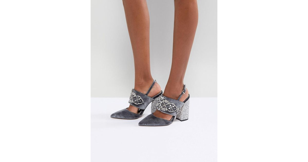 43161976f4 ASOS Asos Perfect Combo Embellished Heels in Gray - Lyst