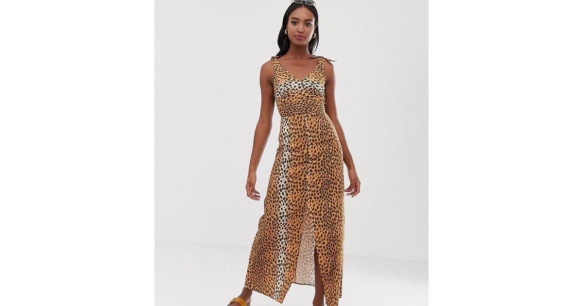 f77019a1b8e Lyst - ASOS Asos Design Tall Tie Back Linen Maxi Dress In Leopard Print in  Brown