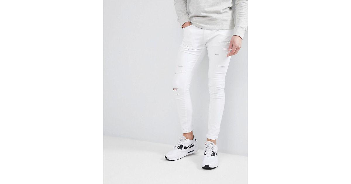 646a7313b76 Liquor N Poker White Skinny Ripped Jeans in White for Men - Lyst