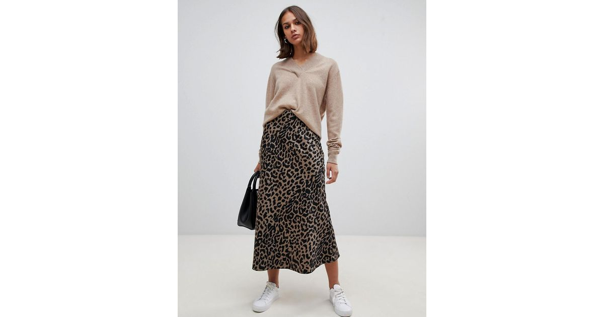 924e075622 ASOS Bias Cut Satin Midi Skirt In Leopard Print - Lyst