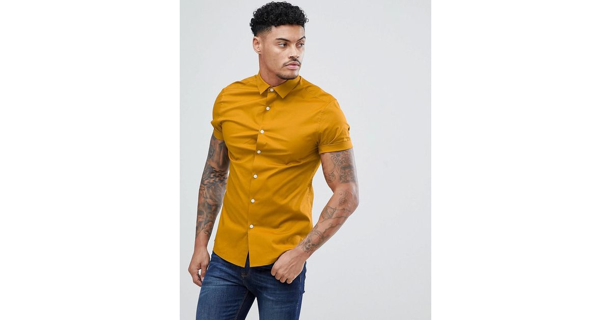 DESIGN Skinny Viscose Shirt In Mustard - Mustard Asos