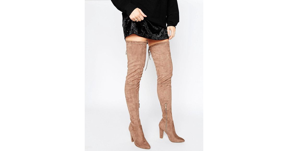 103efc73573 Public Desire Olivia Taupe Tie Back Heeled Thigh High Boots in Natural -  Lyst