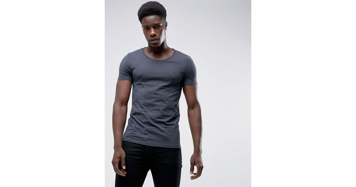 a4f59589 ASOS Muscle Fit Scoop Neck T-shirt In Grey in Gray for Men - Lyst