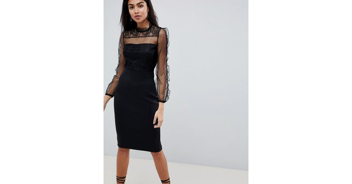 Lyst Ax Paris Long Sleeve Bodycon Dress With Mesh Sleeves In Black