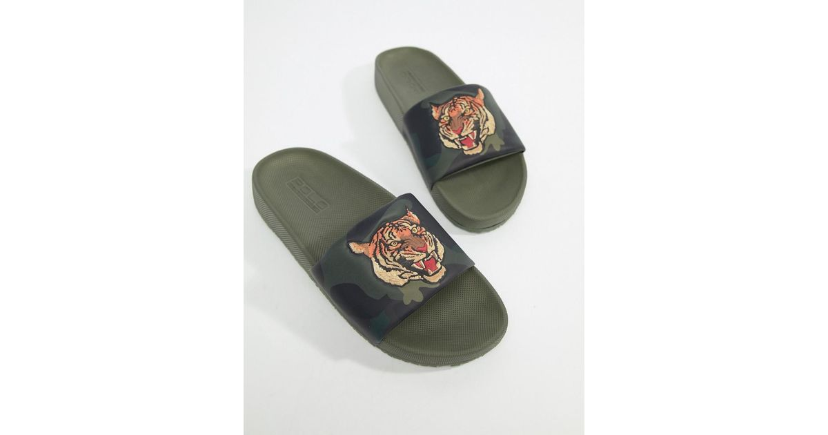 24382bb73059 Polo Ralph Lauren Cayson Summer Sliders Tiger Camo Print In Green in Green  for Men - Lyst