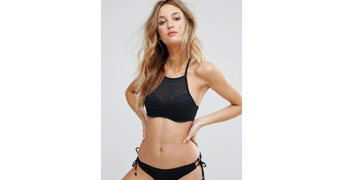 Dorina High Neck Crochet Halter Bikini Top In Black Save 22 Lyst