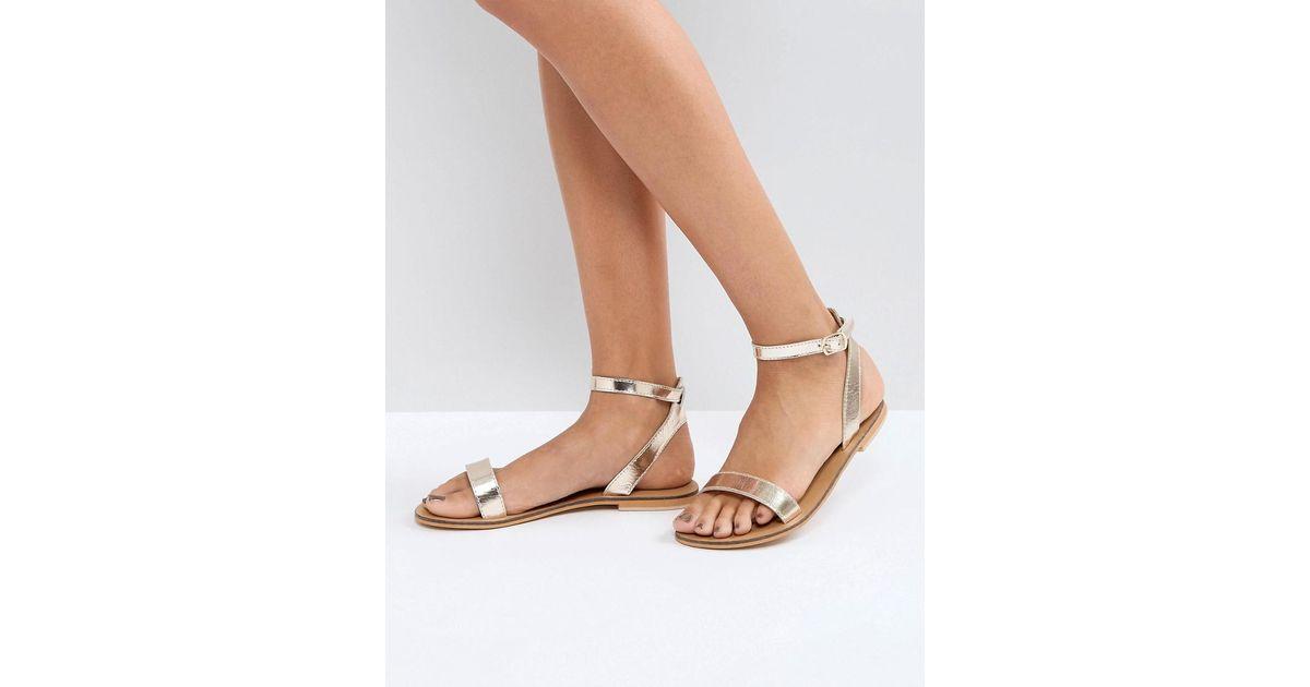 DESIGN Felon Leather Flat Sandals - Multi Asos HHTyiEa
