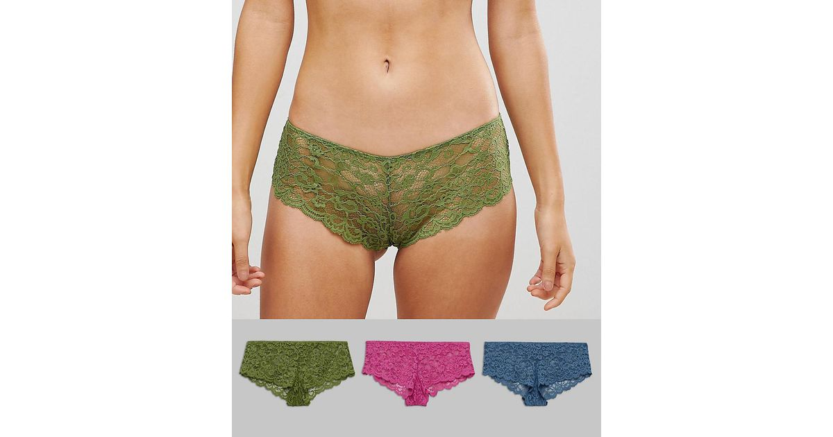 f698123e98 Lyst - ASOS Asos 3 Pack Lace French Knickers