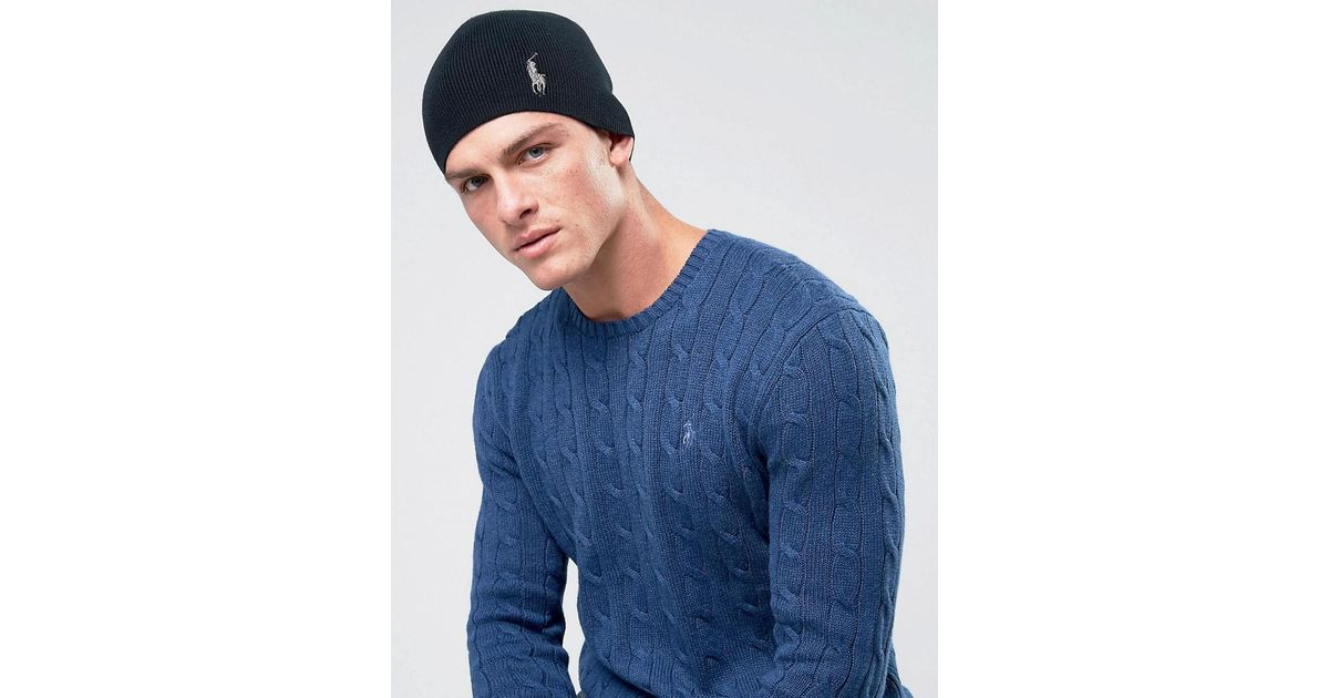Polo Ralph Lauren Player Skull Beanie Fine Cotton Rib In Black in Black for  Men - Lyst e9c7b06a0f2