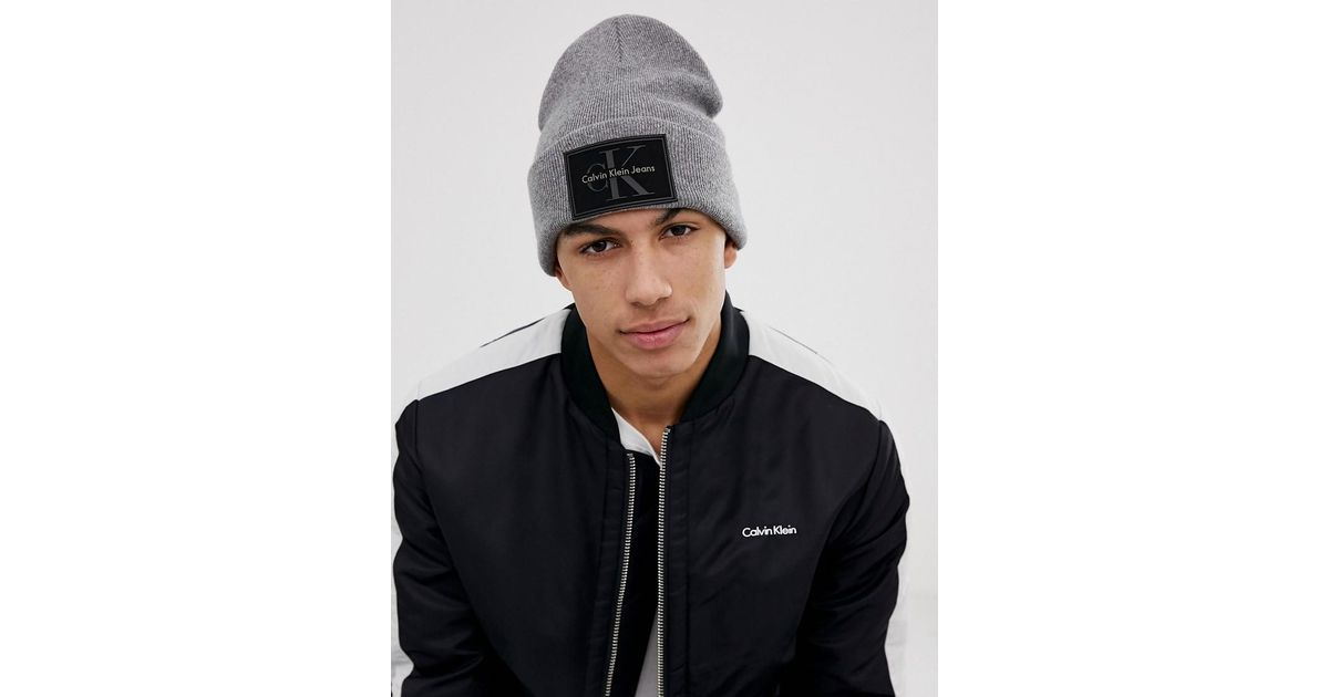 5fbacf0ff45de7 Calvin Klein Logo Beanie Hat in Gray for Men - Lyst