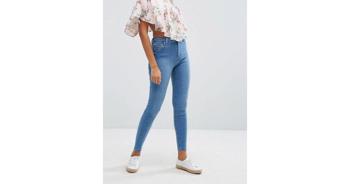 Bershka Skinny High Waist Jean in Blue - Lyst 3a65856ce4f2