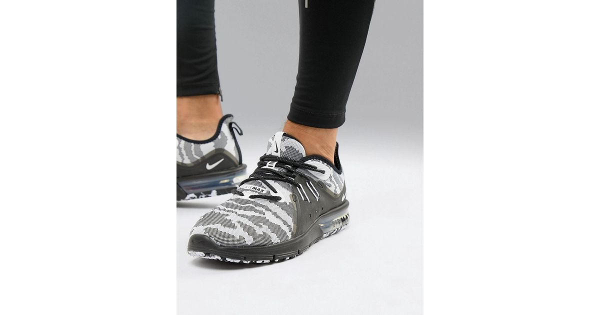 pretty nice 16df0 847b3 Nike Air Max Sequent 3 Trainers In Black Camo Ar0251-001 in Black for Men -  Lyst