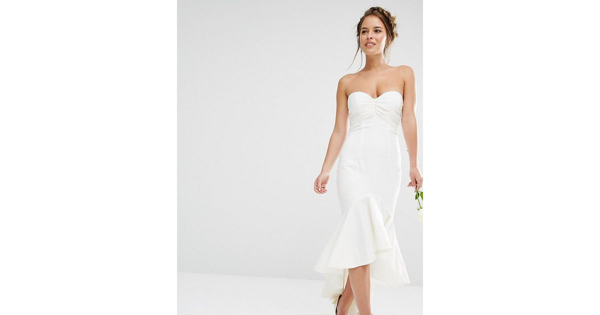 a4e2c83febb7 Lyst - Jarlo Bandeau Midi Dress With Fishtail Detail in White