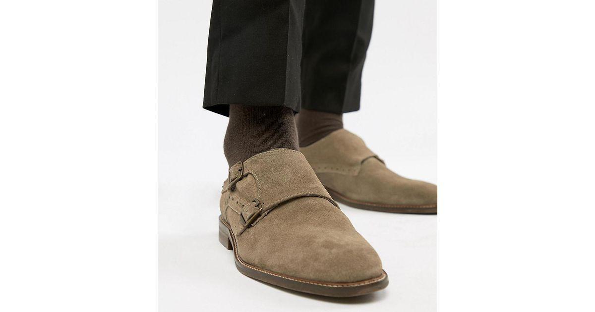 Dune Coupe Large Chaussures De Moine En Daim Couleur Taupe - Tan 1llNfp