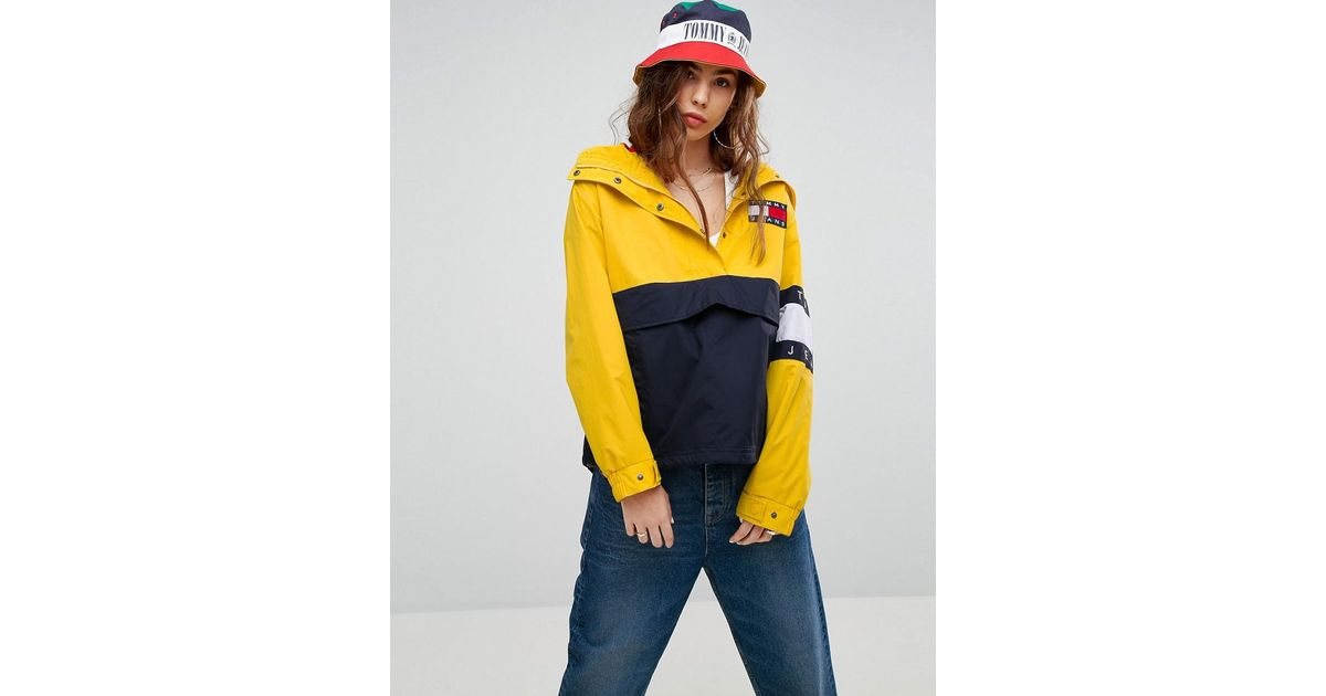 5bfe39cf2 Tommy Hilfiger Tommy Jeans 90s Capsule Colourblock Windbreaker Jacket in  Yellow - Lyst