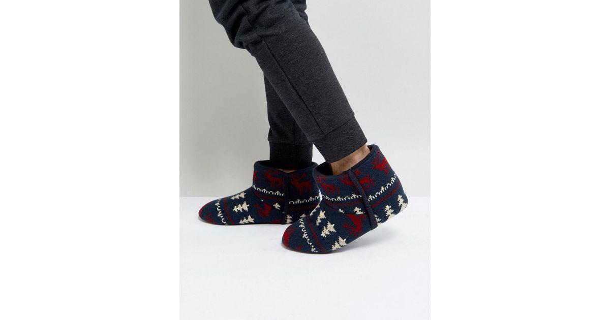 Dunlop Fairisle Boot Slippers Navy in Blue for Men | Lyst