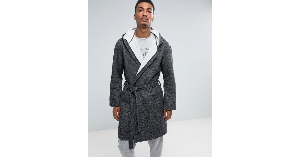 Calvin Klein Ultimate Dressing Gown in Black for Men - Lyst