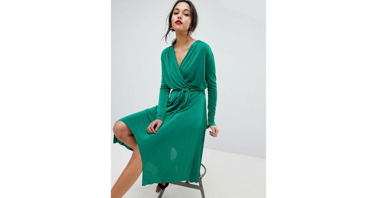 Wrap Dress With Asymmetric Hem - Green Y.A.S VQbxhnCqS